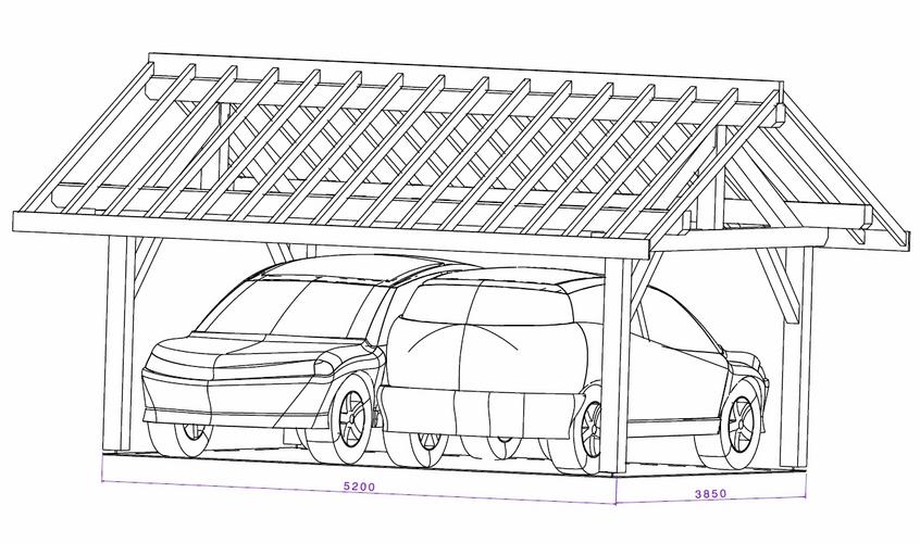 Abri 2 voitures abris voitures sancy pentes dcales with abri 2 voitures carport bois trait - Plan abri voiture ...
